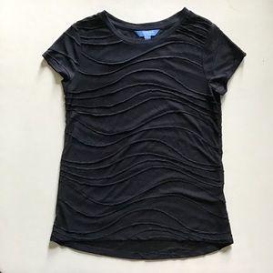 Vera Wang - Stitched Wavy Lines Semi-Sheer Top